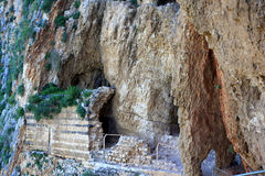 Cave fortress, mount Arbel. Ancient cave fortress at the mount Arbel, Israel Royalty Free Stock Image