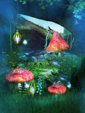 The Cave full of mushrooms Royalty Free Stock Photos