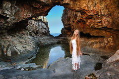 Cave girl Royalty Free Stock Image