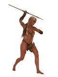Cave girl huntress with stone spear Stock Images