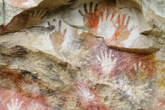 Cave with hand prints, cueva de las manos Royalty Free Stock Image