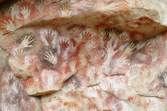 Cave with hand prints, cueva de las manos Royalty Free Stock Photo