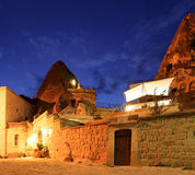 Cave Hotel at night Goreme Turkey Stock Photography
