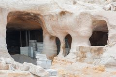 Cave house. Uchisar - cave house under construction Royalty Free Stock Photography