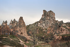 Cave houses in Uchisar. Cave houses, built into the rocks in  Uchisar Cappadocia, turkey Stock Image