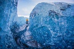 Cave of Iceland ice Vatnajökull stock photos