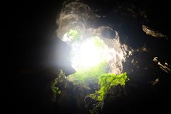 The cave is illuminated from the cave entrance. N Royalty Free Stock Images