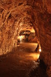 Cave inside. Way in lighting cave. Kosovo Republic in Europe royalty free stock photos