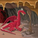 Cave interior background with dragon greek mythological creature. Vector illustration Stock Image