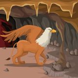 Cave interior background with griff greek mythological creature. Vector illustration Stock Photos