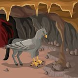 Cave interior background with hippogriff greek mythological creature. Vector illustration Stock Image