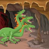 Cave interior background with hydra mythological creature. Vector illustration Royalty Free Stock Photos