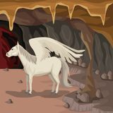 Cave interior background with pegasus greek mythological creature. Vector illustration Royalty Free Stock Photos