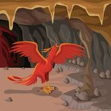 Cave interior background with phoenix greek mythological creature. Vector illustration Royalty Free Stock Image