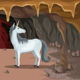Cave interior background with unicorn greek mythological creature. Vector illustration Stock Images