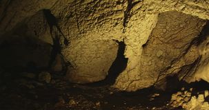 Cave interior. Prehistoric cave interior above Roski waterfall, where they found numerous traces of man's residence stock video footage