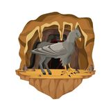 Cave interior scene with hippogriff greek mythological creature. Vector illustration Stock Image
