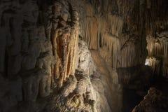 Cave interior with stalactites and stalagmites. Cuevas del Drach, Mallorca, Spain stock photos