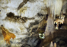 Mysterious Cave Stalactites Stalagmites. Mysterious Cave view, flowstone stalactites stalagmites column. Slovakia Cave royalty free stock photos