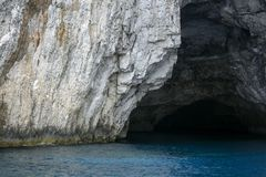 Cave in the Ionian Sea. Cave in the azure waters of the Ionian Sea, Greece Stock Images