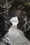 Cave at Leo Carrillo Beach Malibu Royalty Free Stock Images