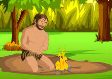 Cave man. Invention of fire Stock Photo