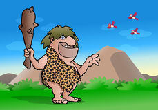 Cave man. Illustration of an ancient cave man hold wood club on nature background Royalty Free Stock Photo