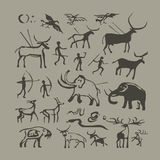 Cave man and animals rock painting. Vector rock painting. Cave man and animals anthropology primitive stone age paintings royalty free illustration