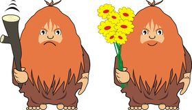 The cave man with a cudgel or with flowers. Two  images of the cave person with a cudgel and with flowers - cartoon, isolated Royalty Free Stock Photography