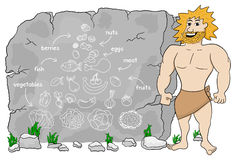 Cave man explains paleo diet using a food pyramid drawn on stone Stock Images