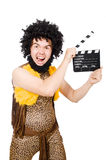 Cave man with movie board isolated Stock Photo