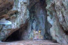 Cave of Marble Mountain at Da Nang city. DA NANG, VIETNAM - JAN 12, 2014: Buddhist pagoda in Huyen Khong cave on Marble Mountain at Da Nang city, Vietnam. Da Royalty Free Stock Photography