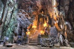 Cave of Marble Mountain at Da Nang city. DA NANG, VIETNAM - JAN 12, 2014: Buddhist pagoda in Huyen Khong cave on Marble Mountain at Da Nang city, Vietnam. Da Royalty Free Stock Images