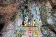 Cave of Marble Mountain at Da Nang city. DA NANG, VIETNAM - JAN 12, 2014: Buddhist pagoda in Huyen Khong cave on Marble Mountain at Da Nang city, Vietnam. Da Royalty Free Stock Photo