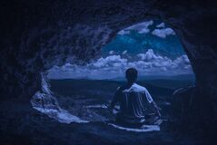 Free Cave Meditation At Night Stock Images - 183938934