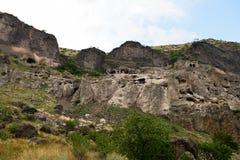 Cave monastery coverd in rock, Vardzia. Georgia Stock Photography