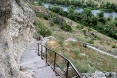 Cave monastery coverd in rock, Vardzia. Georgia Royalty Free Stock Photography
