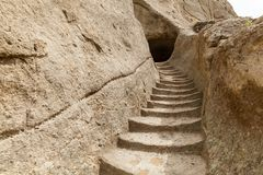 Cave monastery Vardzia Georgia. Stone steps of the caves of the monastery Vardzia Georgia. Vardzia is a cave monastery site excavated from Erusheti Mountain on stock photo