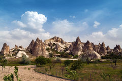 Cave mountain city in Cappadocia Stock Images