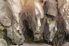 Cave in the mountain, with stalagmites and stalactites.  Royalty Free Stock Image