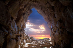 Cave at Mycenae. View from a water supplier in ancient Mycenae, Greece stock images