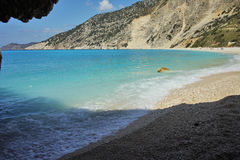 Cave at Myrtos Beach, Kefalonia, Ionian Islands, Greece Royalty Free Stock Photography