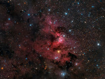 The Cave Nebula. Widefield view of the The Cave Nebula, Sh2-155 or Caldwell 9. Diffuse bright nebula containing emission, reflection, and dark nebulosity. It is royalty free stock photos