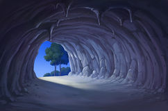 The cave at night. Illustration view from the inside of the cave at night Royalty Free Stock Image