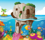 Cave and ocean vector illustration