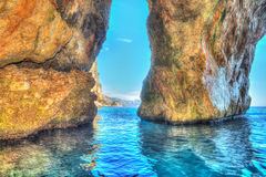 Cave in Orosei Gulf in hdr Royalty Free Stock Photo