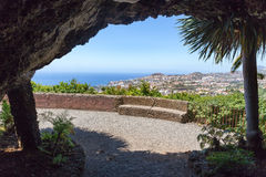 Cave outlook on sea and village on Madeira Stock Photography