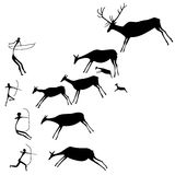 Cave painting. The hunters and deers. Late Stone Age. Vector silhouette Stock Image