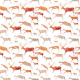 Cave Painting Seamless Pattern. Animals with watercolor texture. Cave Painting Seamless Pattern. Animals with watercolor texture Royalty Free Stock Image