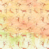 Cave Painting Seamless Pattern. Animals with watercolor texture. Cave Painting Seamless Pattern. Animals with watercolor texture Stock Illustration
